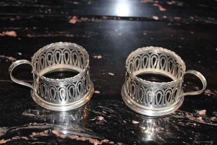 2 antike Tee Tassen Halter Gebrüder Kühn Schwäbisch Gmünd 800er Silber ca. 125g