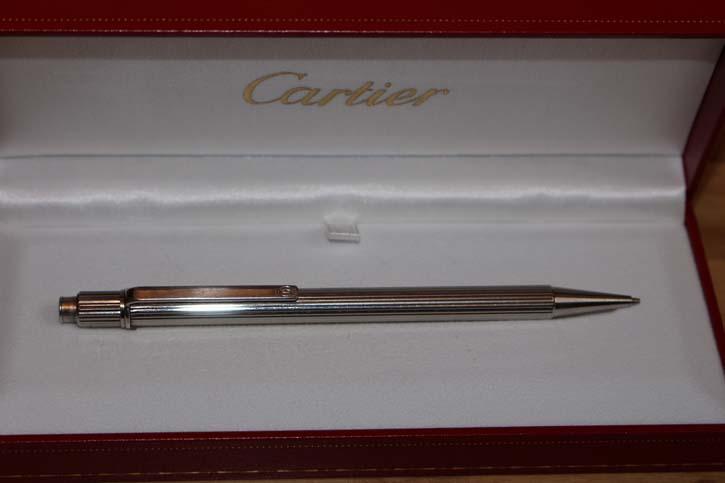 Cartier Bleistift Stylo Bille Must II versilbert mit Faden Guilloche Muster