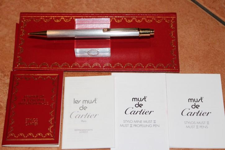 Cartier Bleistift Stylo Bille Must II silbern gebürstet & golden Neu + Papiere