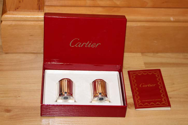 Cartier LAPIS Collection Salz & Pfeffer Streuer versilbert 51,2 Gramm in OVP