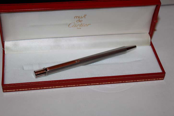 Cartier Stylo Bille II Kugelschreiber silbern mattiert