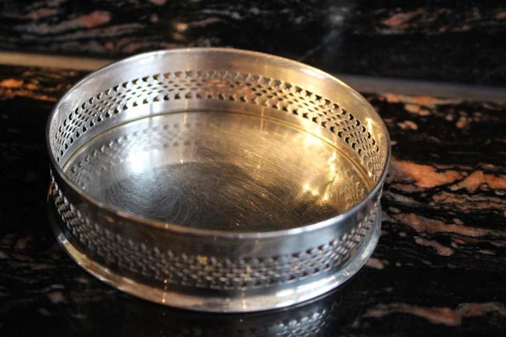 Englischer Flaschen Untersetzer Platte 925er Silber ca.10 x 2,5cm & ca. 89 Gramm