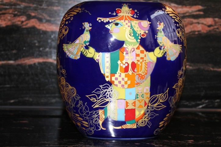 Rosenthal - Björn Wiinblad blaue Vase ca. 22 x 20 x 6 cm aus 1001 Nacht