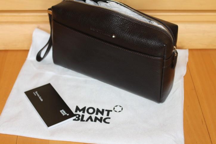 Montblanc Meisterstück Clunch Bag / Kultur Reise Tasche Leder Neu, Mont Blanc