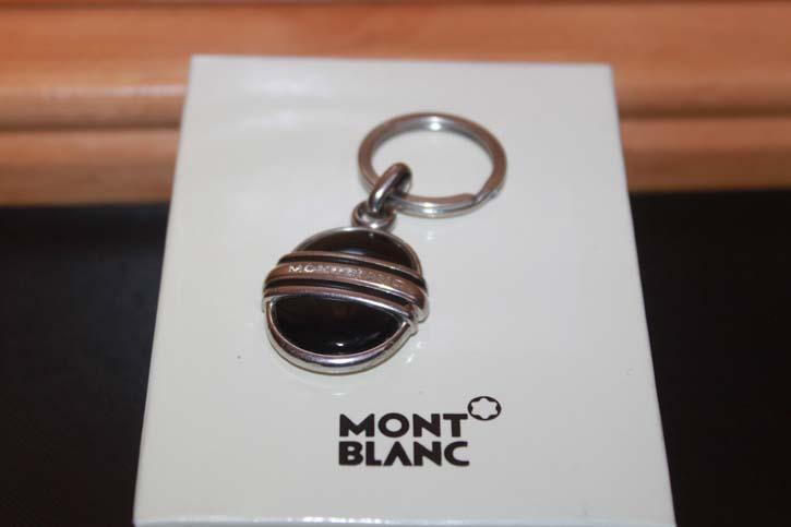 Montblanc Meisterstück Platin Schlüsselanhänger mit Onyx und Edelstahl
