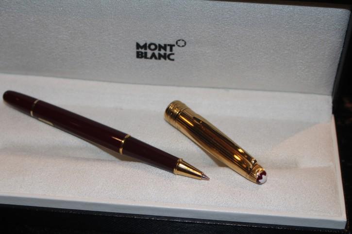 Montblanc Meisterstück Solitaire Doue 925er Silber Roller Ball Bordeaux & Gold