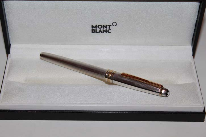 Montblanc Meisterstück Solitaire N° 163 Roller Ball aus 925er Sterling Silber in Feinkorn Guilloche Muster