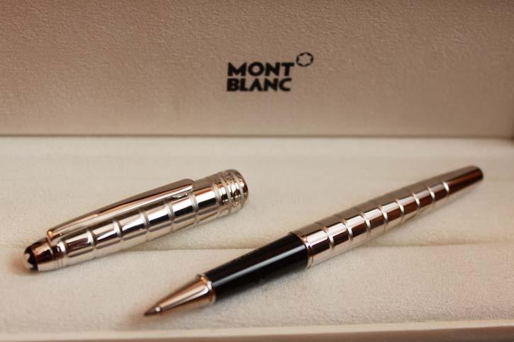 Montblanc Meisterstück Solitaire Platinum Plated Facet Roller Ball Neu in OVP