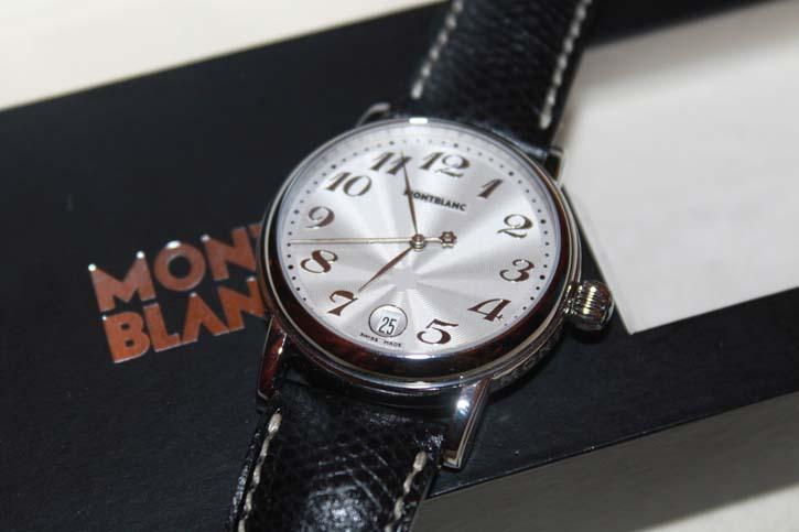 Montblanc Meisterstück Star Gilt Large Uhr Stahl / Leder Neu in OVP mit Papieren