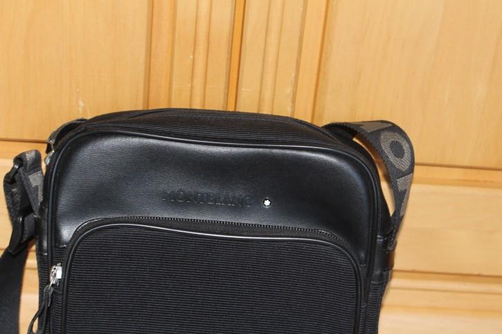 Montblanc Nightflight Messenger Bag / Umhänge Tasche Leder und Baumwollgewebe 26 x 21 x 8cm