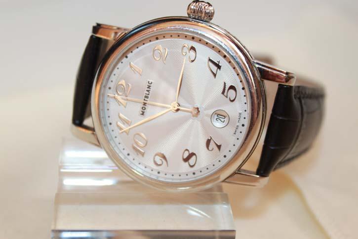 Montblanc Meisterstück Star Gilt Large Herren Uhr Stahl / Leder OVP mit Papieren M29108