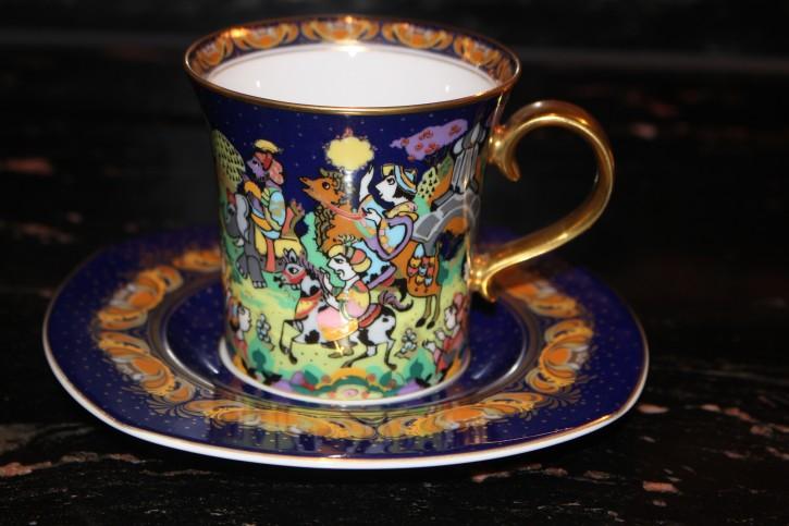 Rosenthal - Björn Wiinblad die Weihnachtstasse 1997 - Kaffee Tasse Neuwertig