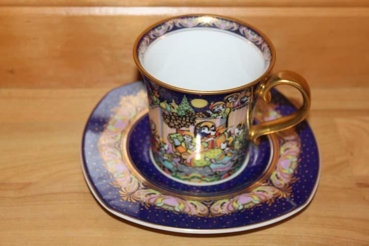 Rosenthal - Björn Wiinblad die Weihnachtstasse 1999 - Kaffee Tasse Gedeck