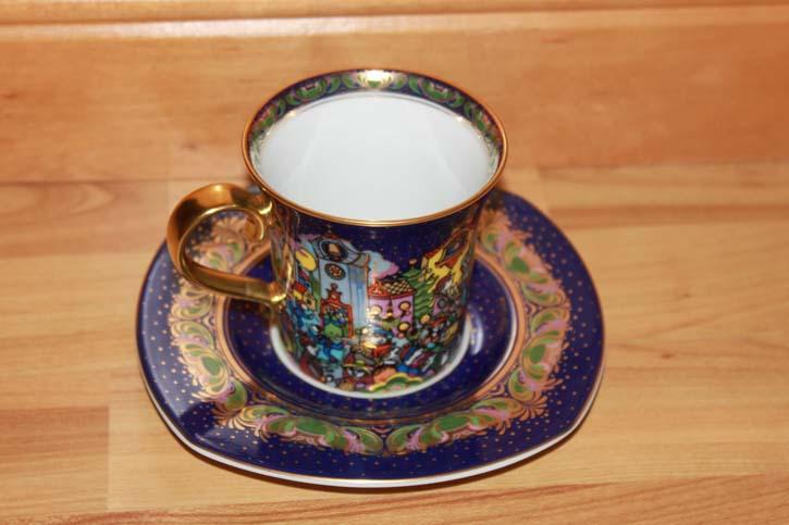 Rosenthal - Björn Wiinblad die Weihnachtstasse 2000 - Kaffee Tasse Gedeck