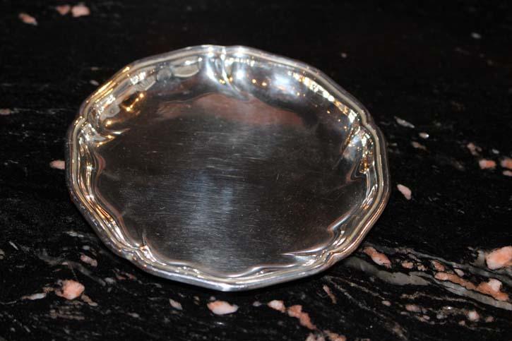 Wilkens Alt Spaten 925er Silber Untersetzer Platte Teller 10cm & ca. 42 Gramm