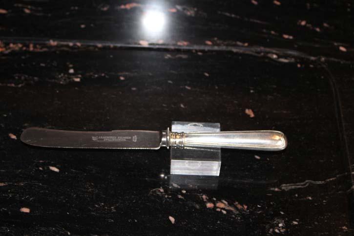 Wilkens Augsburger Faden Tafel Messer 800er Silber ca. 25 cm und 84,7 Gramm