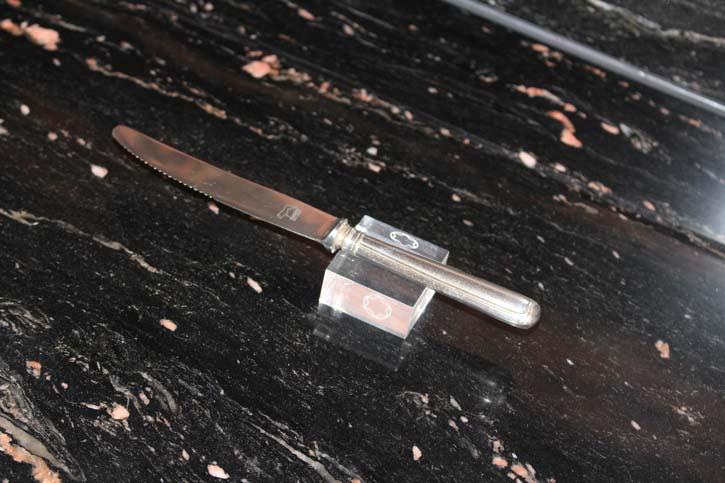 Wilkens Augsburger Faden Menü Messer 800er Silber ca. 23 cm und 81,4 Gramm