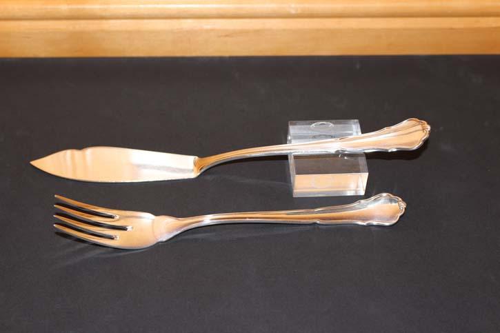 Wilkens Chippendale Fisch Messer aus 800er Silber ca. 21 cm und 48 Gramm