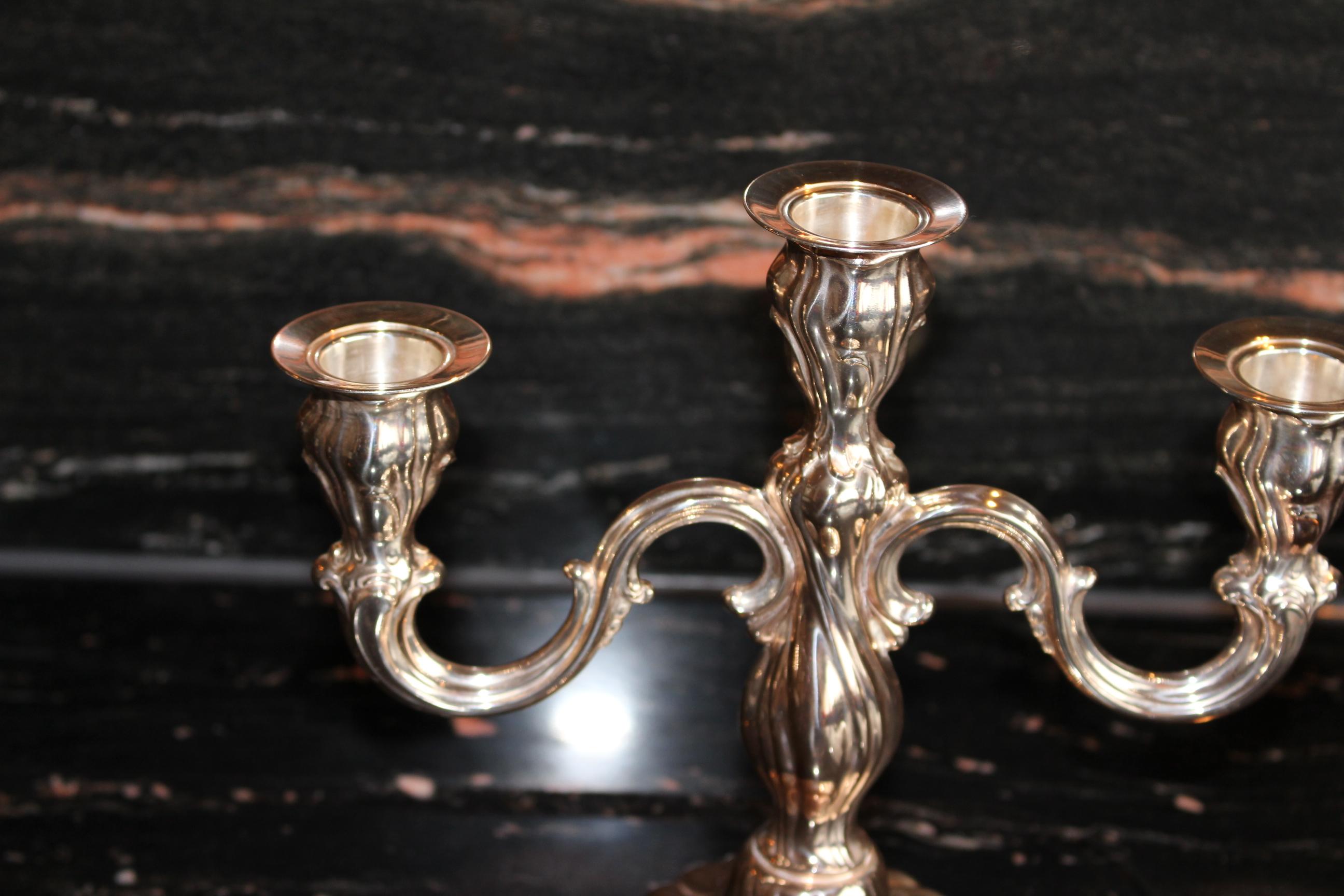 Kerzenleuchter 925er sterling silber halbmond krone meisterpunze g k