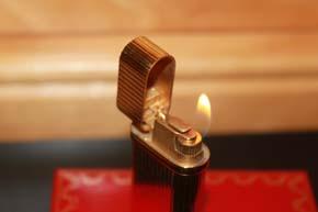 Cartier Feuerzeug Belle Epoque in vergoldet mit Faden Guilloche Muster TOP