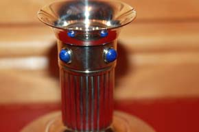 Cartier Kerzenleuchter, Kerzenständer versilbert mit Lapis Lazuli Steinen 130g