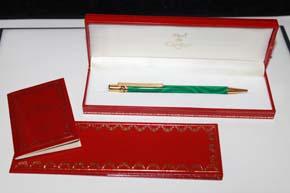 Cartier Trinity Kugelschreiber Chinalack in Grün marmoriert und Gold in OVP mit Papieren