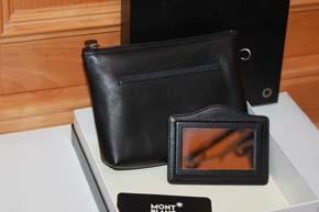 Montblanc Meisterstück Kulturtasche Leder mit Spiegel Cosmetic Tasche Bag OVP